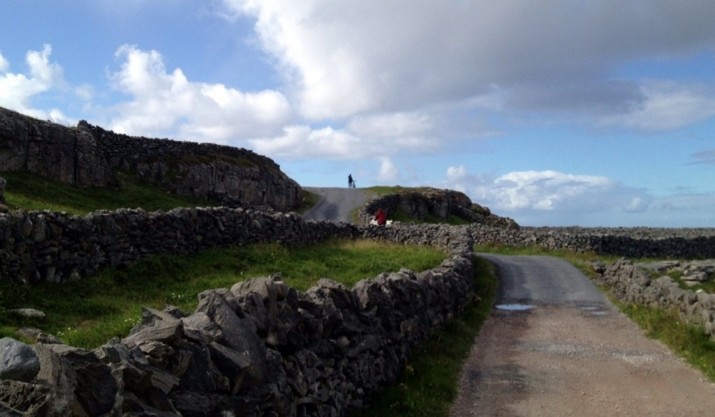 Rock walls and bicycling Inis Oirr