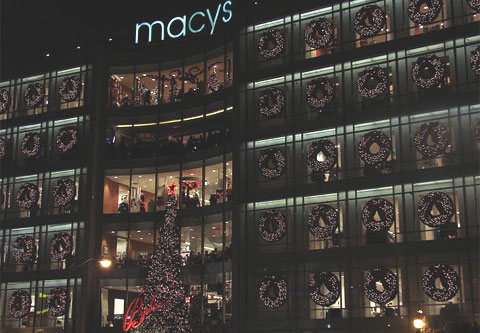 Macy's storefront lit up for Christmas