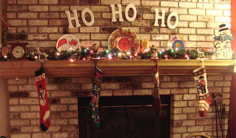 My fireplace, all decked out for Christmas