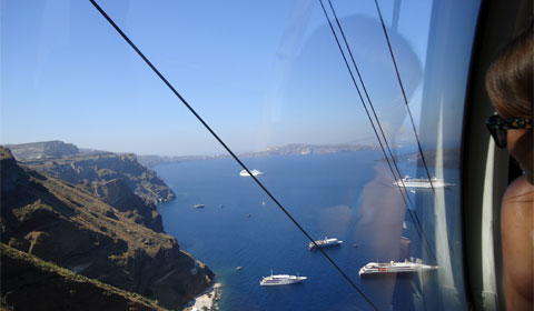 Cable car ride up from the harbor in Santorini