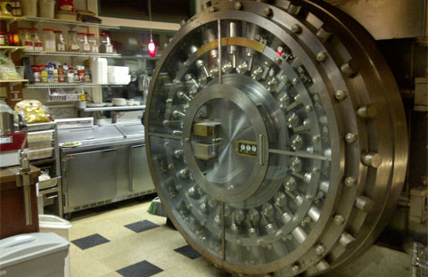 Selah Restaurant bank vault door in the kitchen