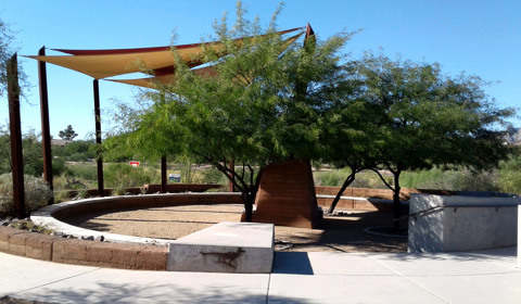 Shade sails over a rest area, with a view of the mountains, Rio Vista Natural Resources Park, Tucson, Arizona