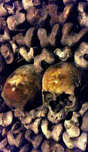 Skulls inside the catacombs