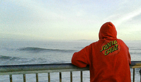Checking out the surf at Steamer Lane, Santa Cruz, California