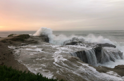 Waves crashing over the rocks, Santa Cruz, California | Photo courtesy Matt Steinmetz