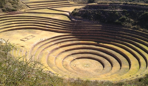 The agricultural terraces of Moray-crop. For scale, each ring is approximately 6' high.
