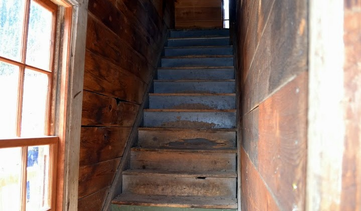 The staircase in the Bay Window house, very steep and narrow.