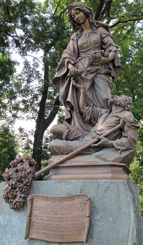 The statue of St Elizabeth of Hungary at Bratislava Castle
