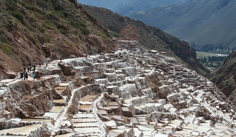The valley filled with salt ponds