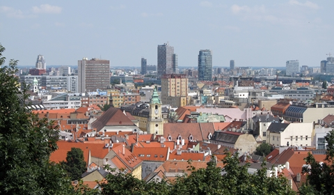 The view from a lower level of the Bratislava Castle's plateau