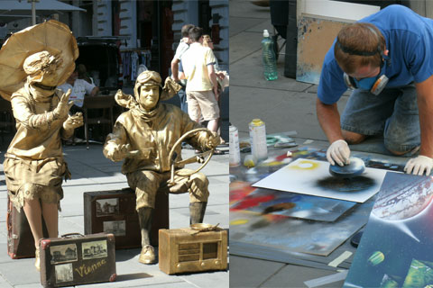 Street performers and spray paint artist