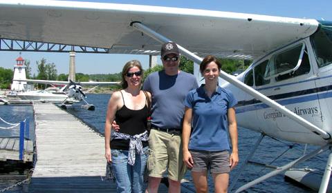 Float plane passengers and pilot