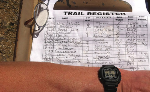 Hiking trail register