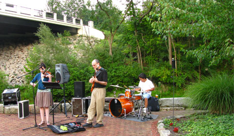 The supporting act: music on the banks of the creek