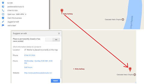 My editing of the incorrect Google Maps marker