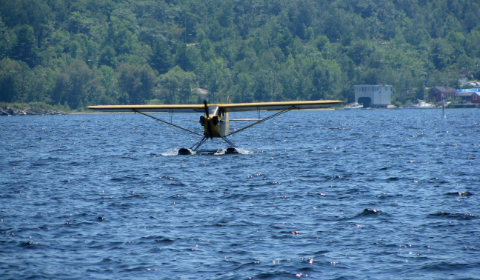 Float plane coming in for a landing