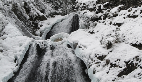 A close-up of the frozen waterfall