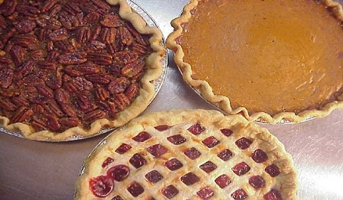 Homade pies; pecan, cherry and pumpkin