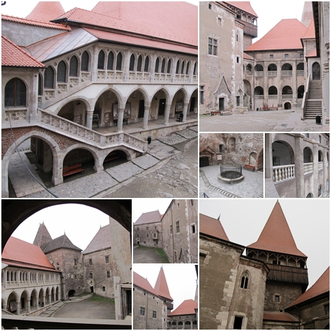 The castle's courtyard from different angles